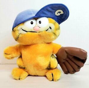 """1980s Garfield the Cat Baseball Hero  8"""" Dakin Plush Stuffed Animal Toy"""
