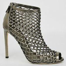 Gucci Metallic Leather Woven Open Toe Ankle Boots 41.5/11.5 353730 9640