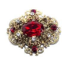 Antike Filigranbrosche mit Strass-Steinchen Rot/Crystal · Böhmen um 1930 · #846