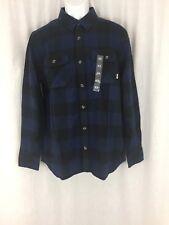 Men Vans long sleeve cotton plaid blue flannel Shirt classic fit Size M New tag