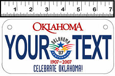PERSONALIZED ALUMINUM MOTORCYCLE STATE LICENSE PLATE-OKLAHOMA CENTENNIAL