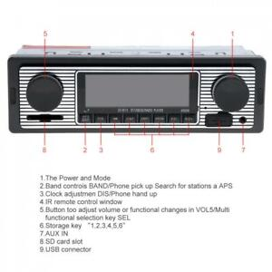Bluetooth Vintage Car Radio MP3 Player Stereo USB AUX Classic Stereo Audio USB