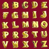 Initial Letter Charm Beads 18k GOLD PLATED 925 Sterling Silver Alphabet Bracelet