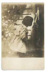 RPPC Artistic Picture Girl Shadow with Fish Fishing Catfish Real Photo Postcard