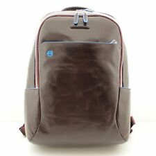 Man Backpack BLUE SQUARE brown leather rucksack for laptop new CA3214B2 MO