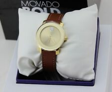 NEW AUTHENTIC MOVADO BOLD GOLD BROWN LEATHER CRYSTALS WOMEN'S 3600437 WATCH