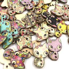 Wooden Retro Novelty Cat Design Buttons Sewing art Scrapbooking craft WB416
