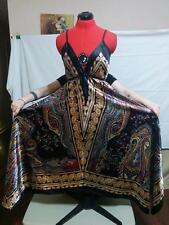 Maxi Scarf Dress Sz M Paisley Satin Handkerchief Hem Elastic Straps Empire Waist