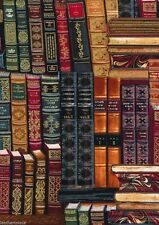 Timeless Treasures ~ BOOKS LIBRARY METALLIC GILD~ 100% Cotton Quilt Fabric BTY