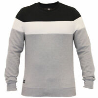 Mens Sweatshirt Threadbare Pullover Top Block Pattern Fleece Lined Winter New