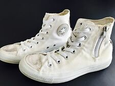 CONVERSE All Star Chuck White Canvas High Top Side Zip Sneakers Shoes Women's 8