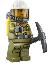 LEGO CITY VOLCANO RESEARCH SCIENTIST MINIFIGURE w/ Pick Axe AUTHENTIC NEW