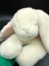 Eden White Bunny Rabbit Sleeping Stuffed Plush Pink Bow Vintage