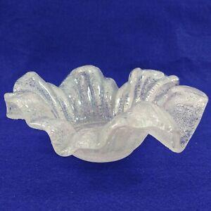 Art Glass Scalloped Ruffled Bowl Sandblasted Textured Finish