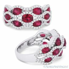 Pave 18k White Gold Right-Hand Fashion Ring 3.38 ct Oval Cut Red Ruby & Diamond