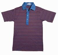Vintage 1960s Polo Shirt Men's Striped Collared Shirt Red Blue Med Short Sleeve