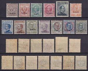 "Libia 1912-17 ""Prima emissione"" 13 val. MNH**/MLH* serie nuova gomma mista cert."
