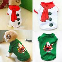 Puppy Cat Dog Christmas Santa T-Shirt Pullover Jacket Shirt Warm Pet Clothes