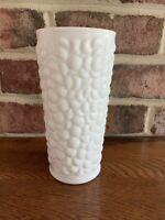 Unusual Tall Heavy Vintage Milk Glass Vase Bubble Leaves Ivy Mum Floral