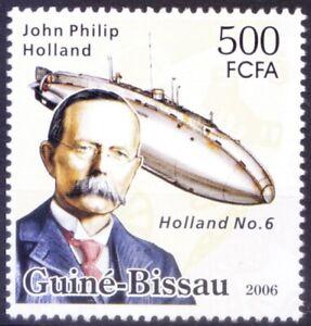 Guinea Bissau 2006 MNH, John Philip Holland, Developed 1st Submarine, Ships