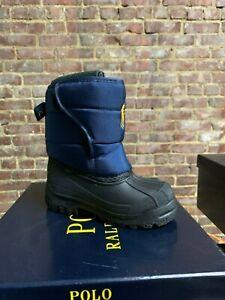 Kids Polo Ralph Lauren Snow Boot Navy Blue Yellow Toddler/Kids/Big Kids