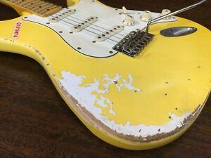 Haze STA Relic Guitar-Yellow, Scalloped Fingerboard, Solid Mahogany Body+Gig Bag