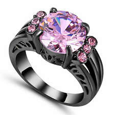 Size 9 Pink Sapphire Engagement & Wedding Ring Women's Black Rhodium Plated