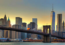 366x254cm Muro Gigante Carta Da Parati Murale Foto New York City Ponte di Brooklyn Tramonto