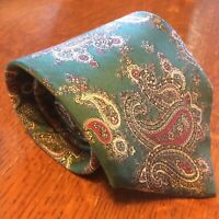 Christian Dior turquoise red paisley silk tie 56x3.5""