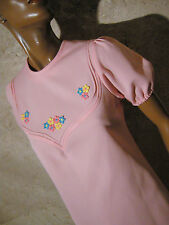 CHIC VINTAGE ROBE ROSE 1970 VTG DRESS 1970s PINK KLEID 70er ABITO RETRO (36/38)