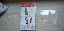 Lot of 3 Wilton candy chocolate molds Christmas holiday pretzyl set elves Santa