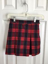Dennis Uniform Girls Kick Pleated Skirt in Red Woodland Plaid Size G5