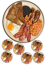 "FULL ENGLISH/BREAKFAST/FRY UP cake topper 7.5""round& 6 toppers A4 ICING SHEET"