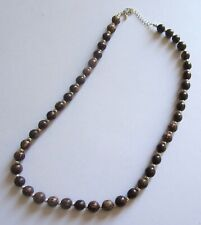 Fashion Necklace- round wood beads-silver color spacers- browns