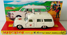 Lesney MATCHBOX Diecast KING SIZE K-6 BENZ BINZ AMBULANCE & Custom Box Display e