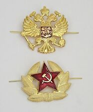 Two Russian Soviet Hat Pin Badges *Ussr Red Army Star & Double-headed eagle*