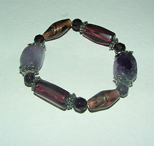 CHUNKY real stone BRACELET PURPLE AMETHYST AND GLASS BEADS ELASTICATED
