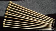"""14  pairs 9"""" bamboo straight knitting needles US 1-15"""