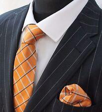 Tie Cravatta Con Fazzoletto arancione Bianco & Nero