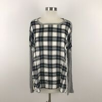 Dylan Womens Medium Top Waffle Knit Gray Plaid Long Sleeve NWT