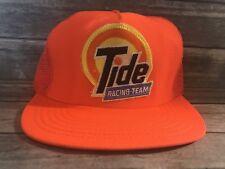 Vintage Tide Racing Team Mens Orange Trucker Hat Rare Snapback Cap
