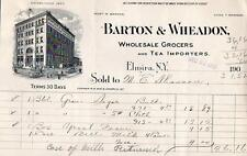 1903 ELMIRA NEW YORK*BARTON & WHEADON*WHOLESALE GROCERS & TEA IMPORTERS*BILLHEAD