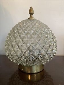 Fabulous 1950's Mid Century Glass And Brass Pineapple PORCH HALL LIGHT SHADE