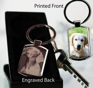 Personalised Metal Keyring Photo Printed,Photo Engraved Pet Dog Memorial Xmas