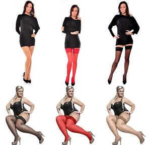 Aurellie Lace Sheer Hold-Up Stockings Silicone Top 20 Denier X-Small - 4X-Large