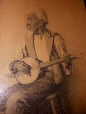 Rare Antique Black Americana folk art Black man playing banjo drawing painting