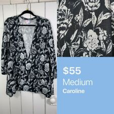 Lularoe Medium M Caroline Cardigan Grey Cream Roses Floral NEW NWT