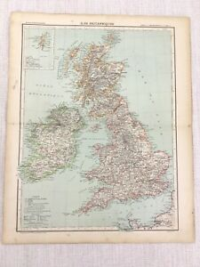 1898 French Map of The British Isles Great Britain 19th Century Antique Original