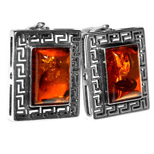 9.71g Authentic Baltic Amber 925 Sterling Silver Earrings Jewelry A8306