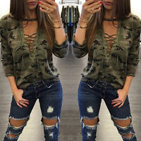 UK Women Blouse Long Sleeve Lace up V Neck T Slim Shirt Tops Camouflage Pullover